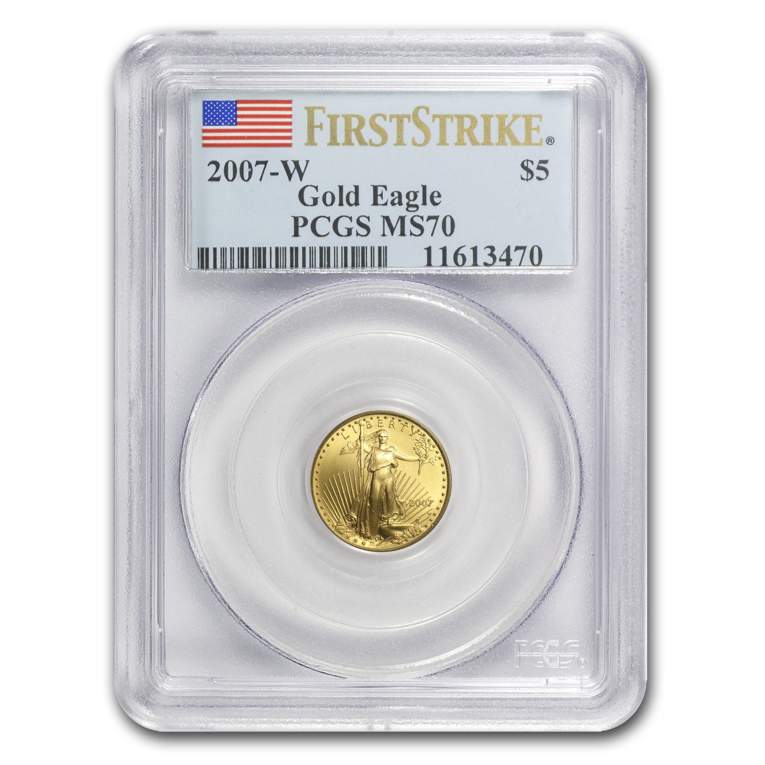 2007-W 1/10 oz Burnished Gold American Eagle MS-70 PCGS (FS)