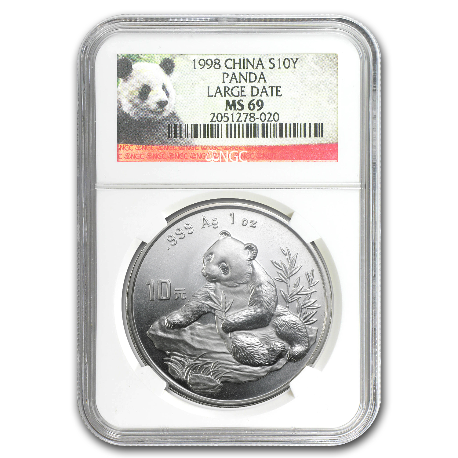1998 China 1 oz Silver Panda MS-69 NGC (Large Date)