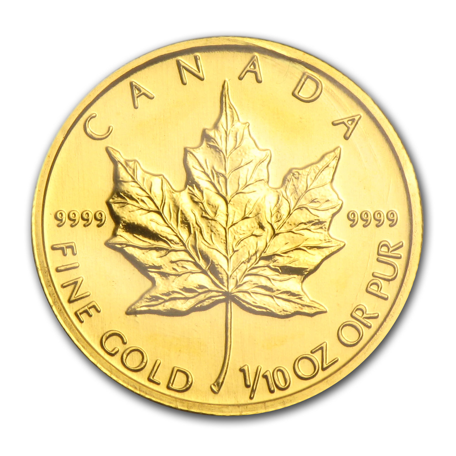 2005 1/10 oz Gold Canadian Maple Leaf BU