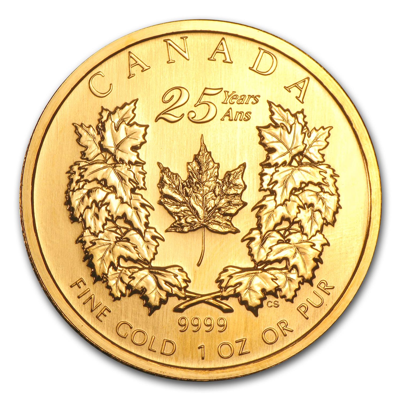 2004 Canada 1 Oz Gold Maple Leaf Bu 25th Anniversary 1