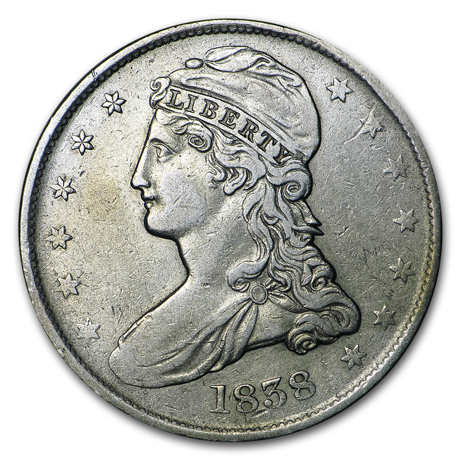 1838 Reeded Edge Half Dollar XF