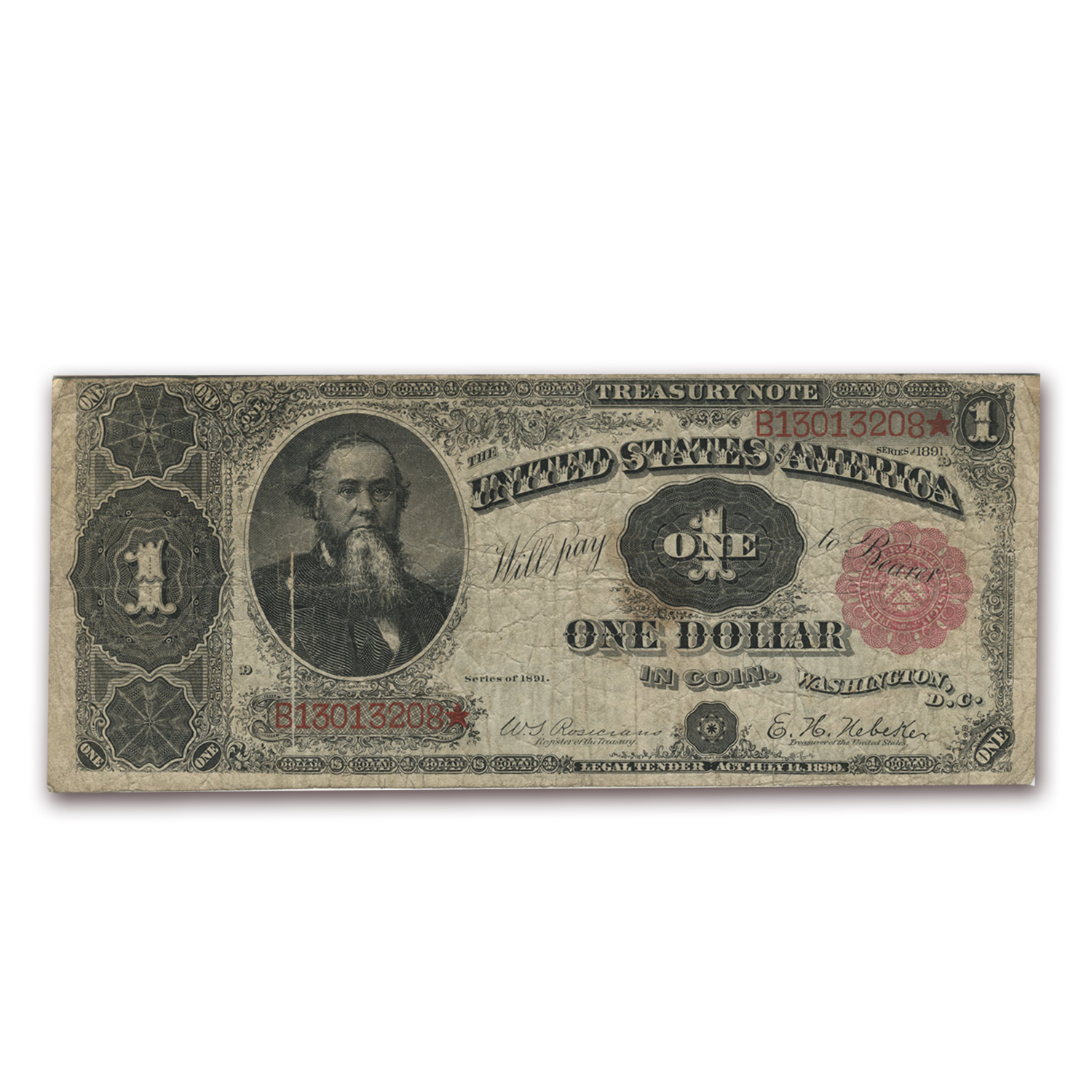 1891 $1 Treasury Note - Stanton (Fine) FR #352