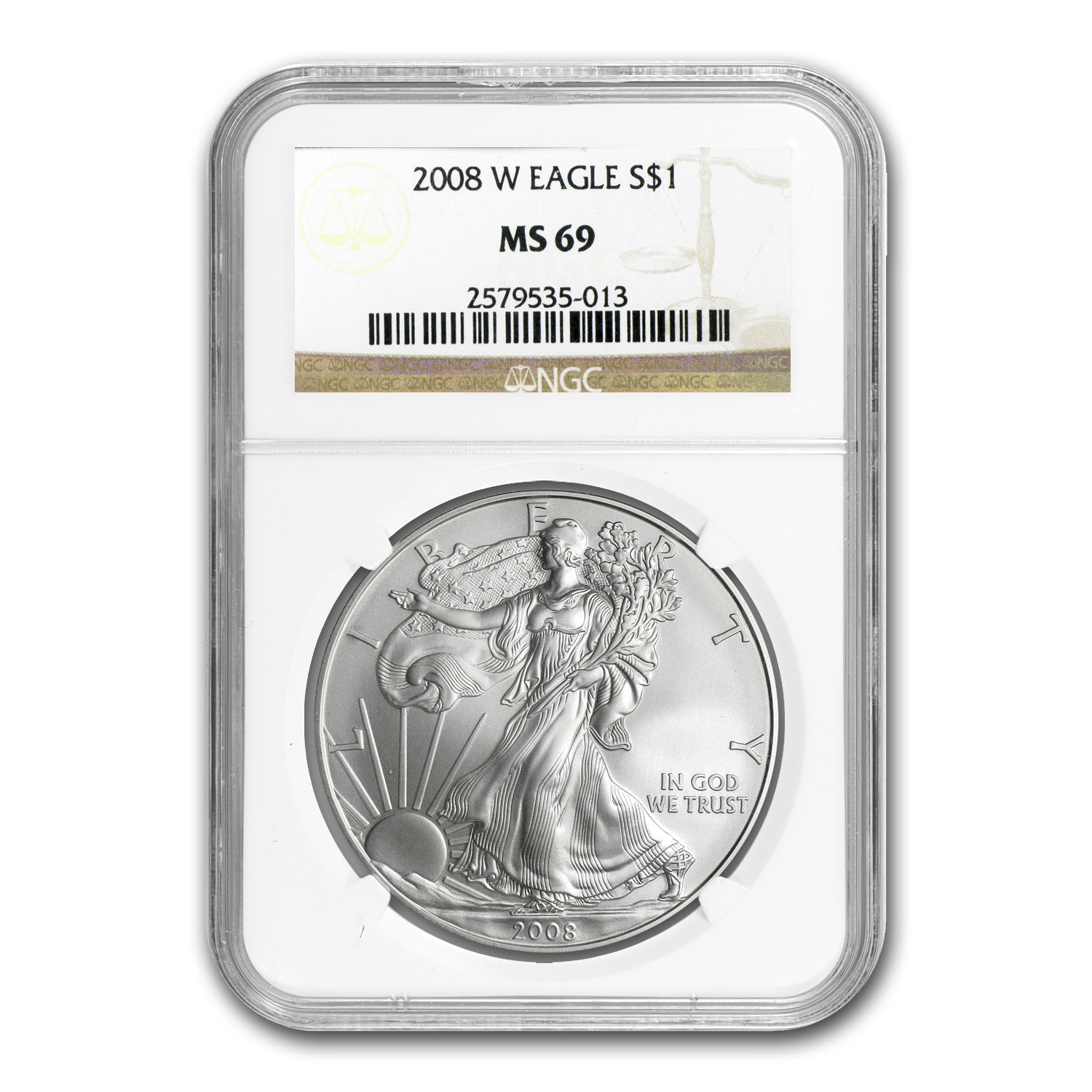 2008-W Burnished Silver American Eagle MS-69 NGC