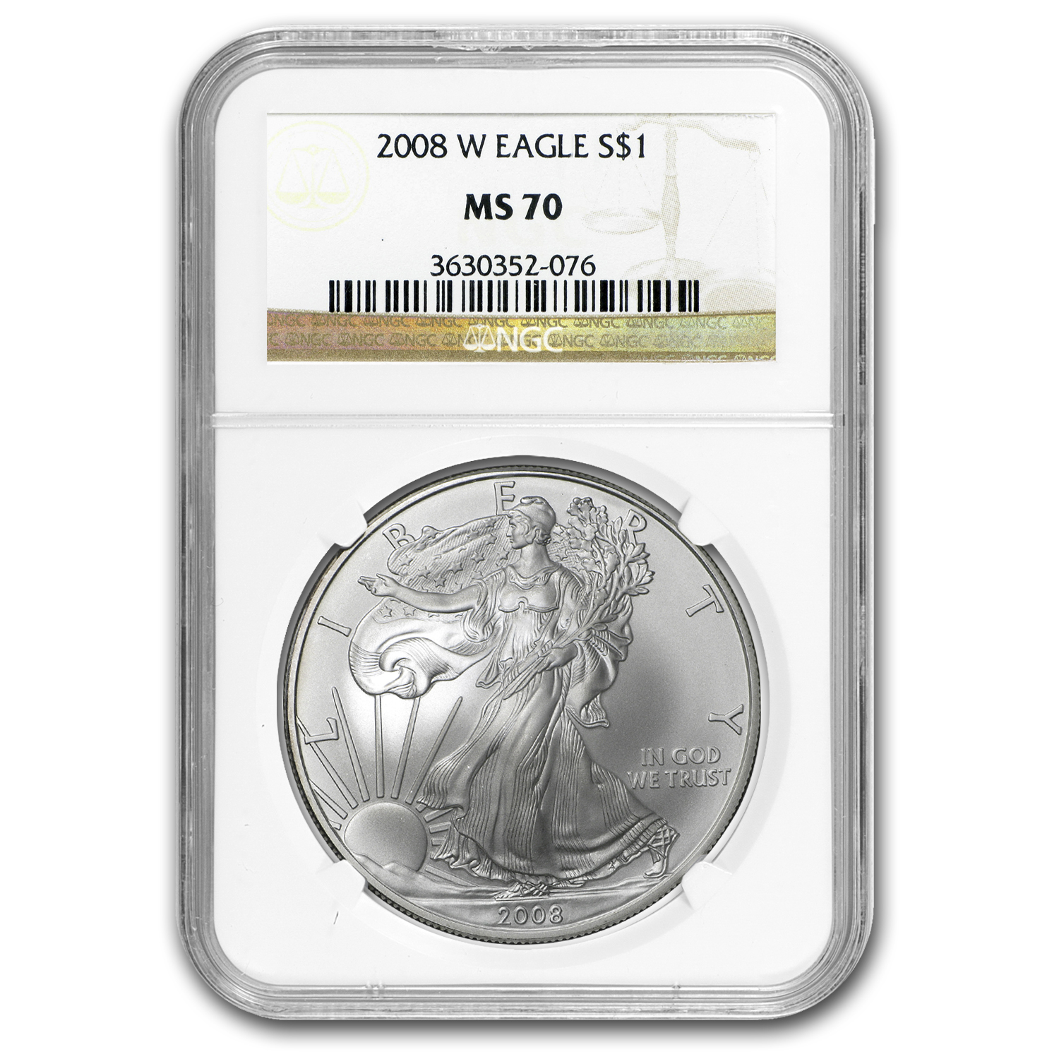2008-W (Burnished) Silver American Eagle MS-70 NGC