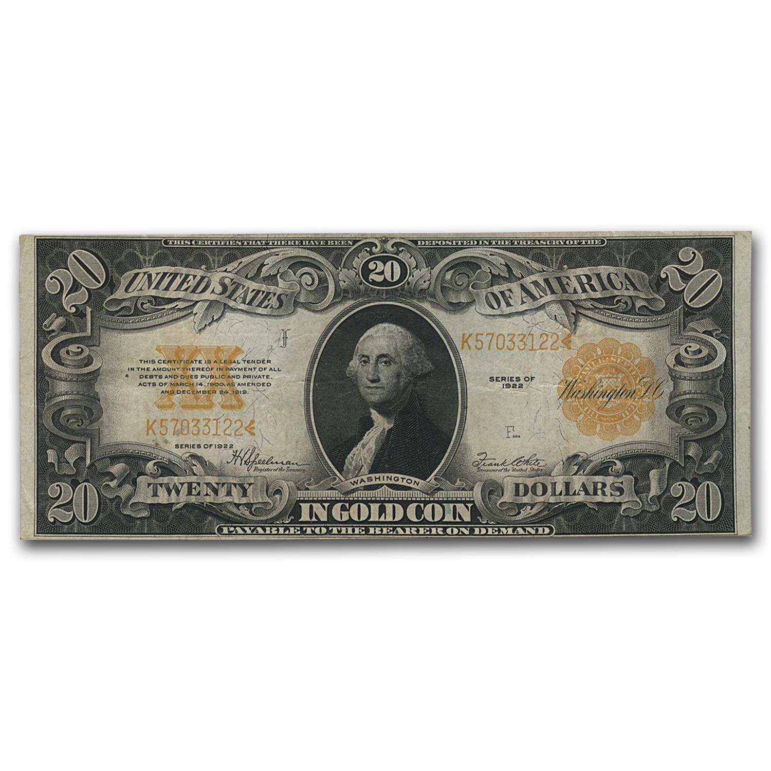 1922 $20 Gold Certificate Choice XF