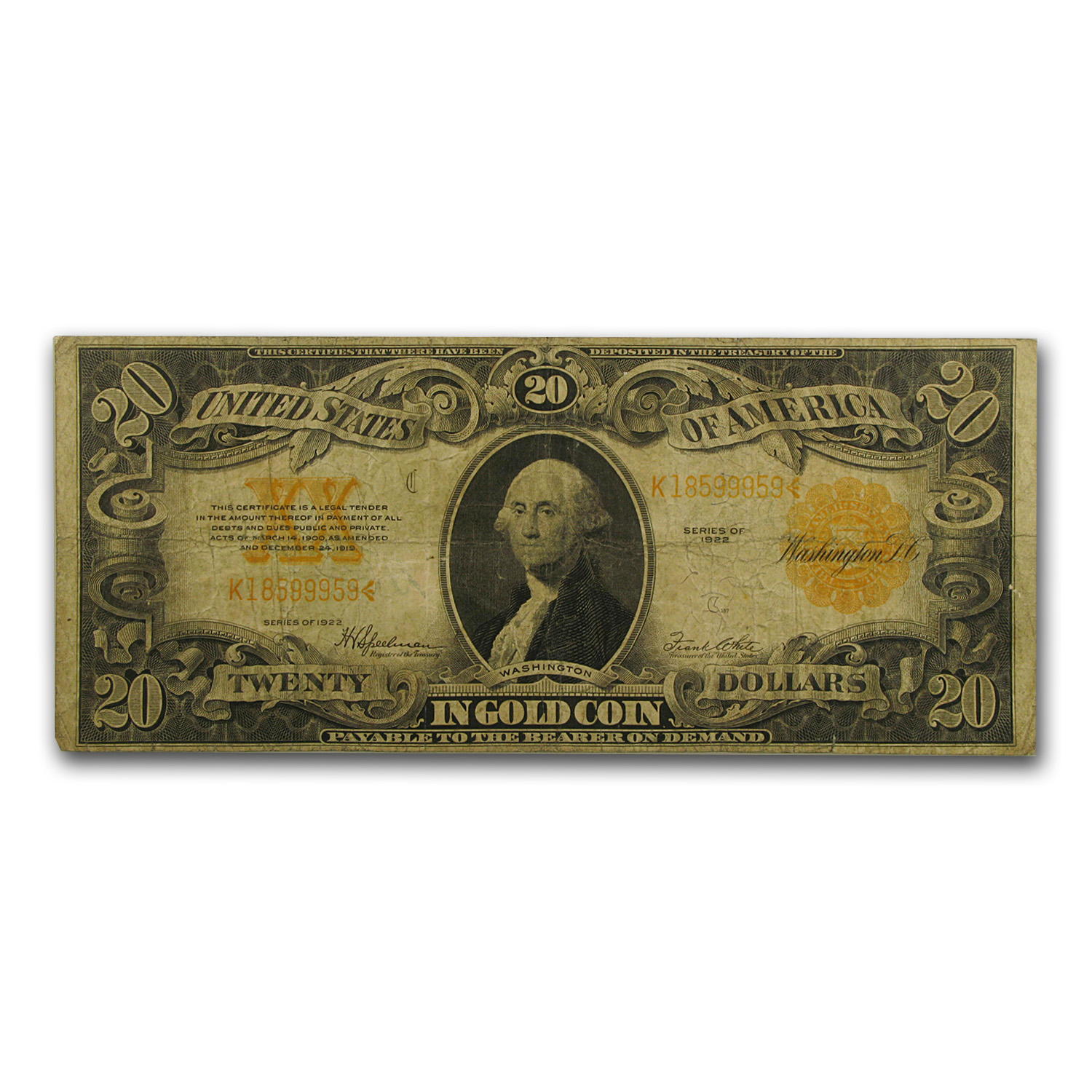 1922 $20 Gold Certificate Washington Fine