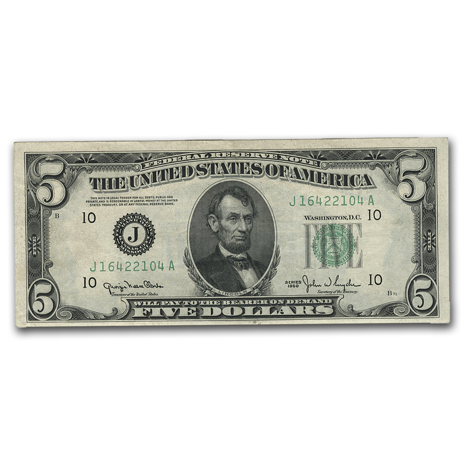 1950 (J-Kansas City) $5.00 FRN CU (Wide Seal)