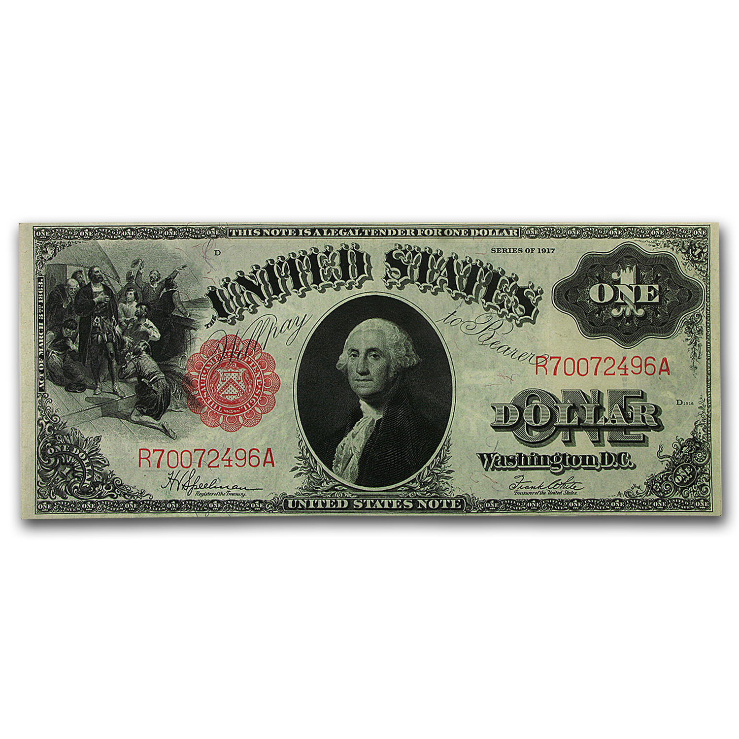 1917 $1.00 Legal Tender George Washington AU