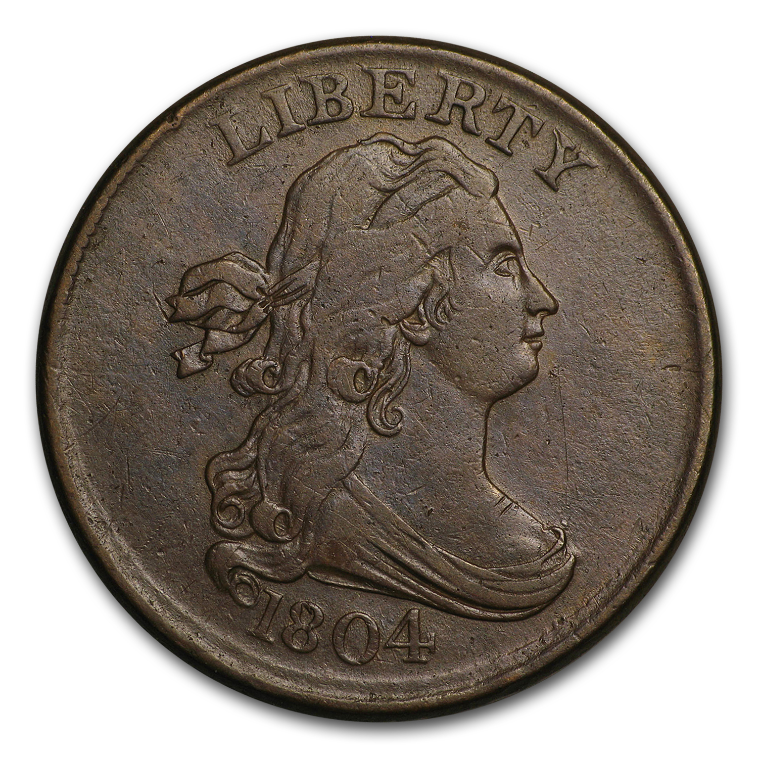 1804 Half Cent Crosslet 4 w/Stems XF