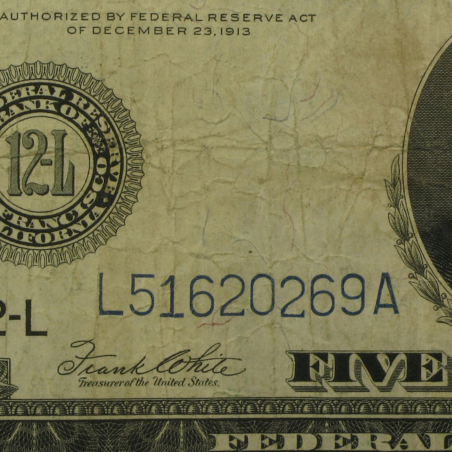 1914 (L-San Francisco) $5.00 FRN VF
