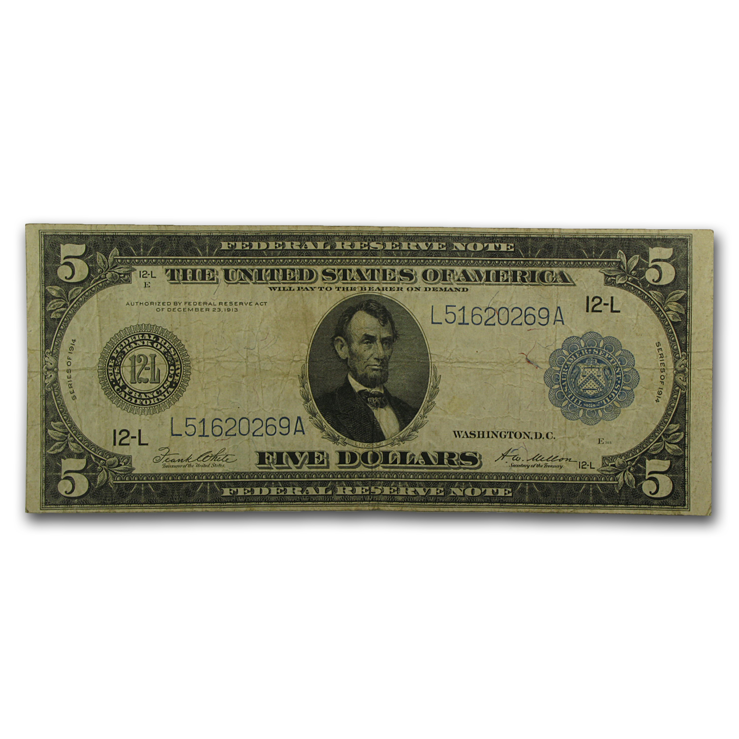 1914 (L-San Francisco) $5 FRN VF