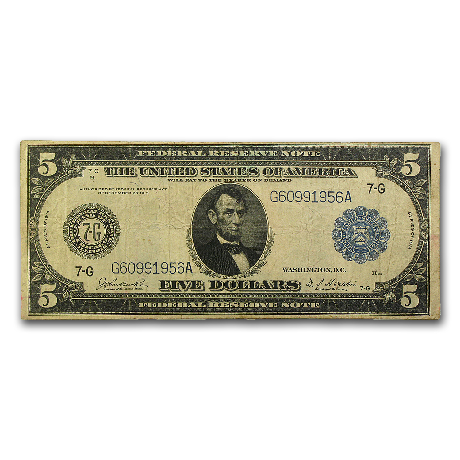 1914 (G-Chicago) $5.00 FRN VF