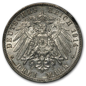 1914-J Hamburg Silver 3 Mark XF