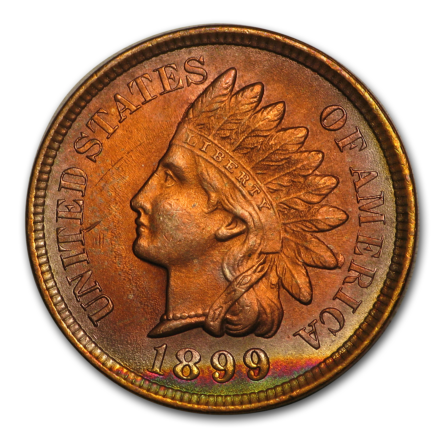 1899 Indian Head Cent MS-63 (Red/Brown)