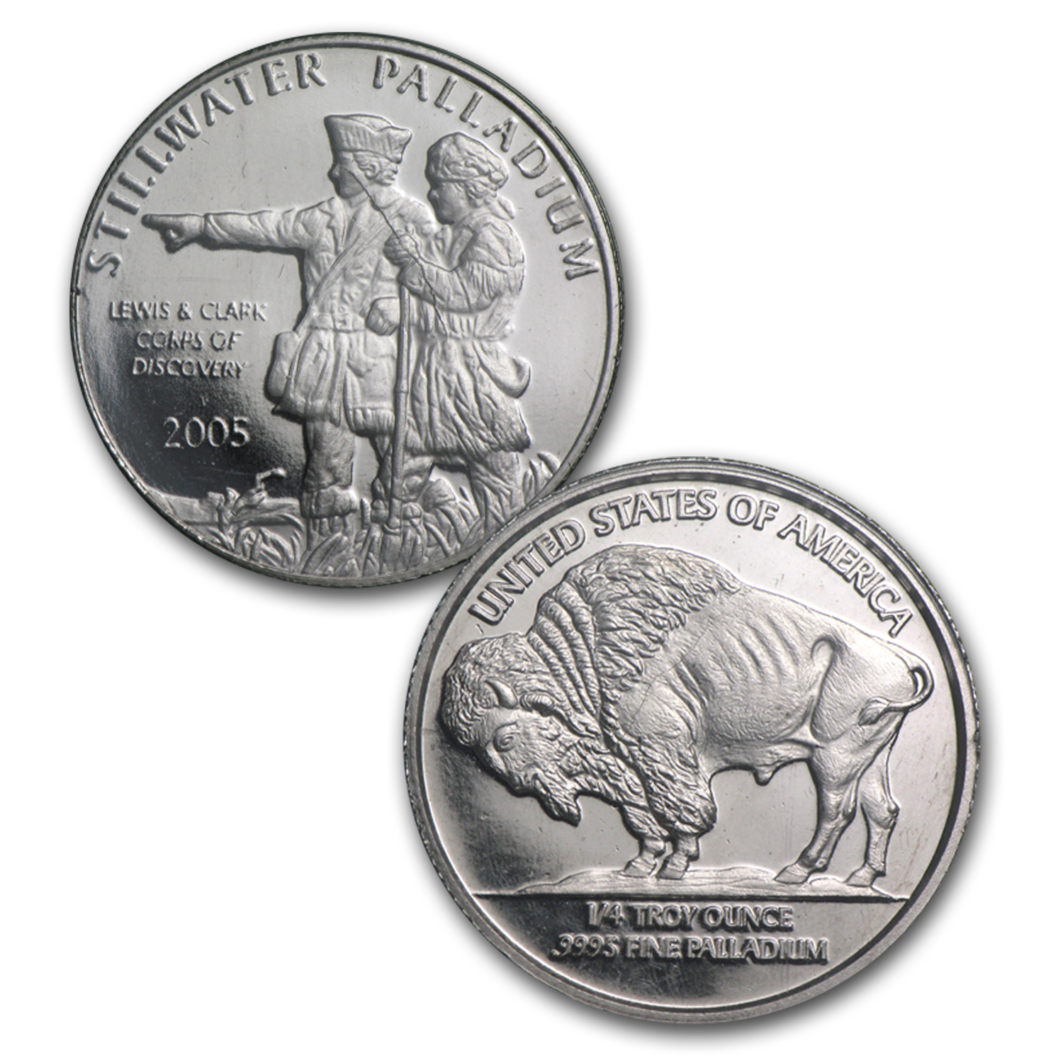 1/4 oz Palladium Round - Johnson Matthey Lewis & Clark (4 Pack)