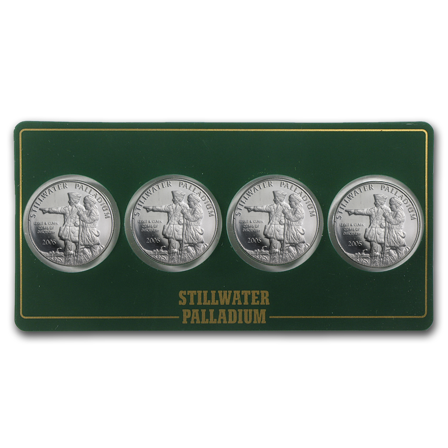 1/4 oz Palladium Round - Johnson Matthey Lewis & Clark (4-Pack)