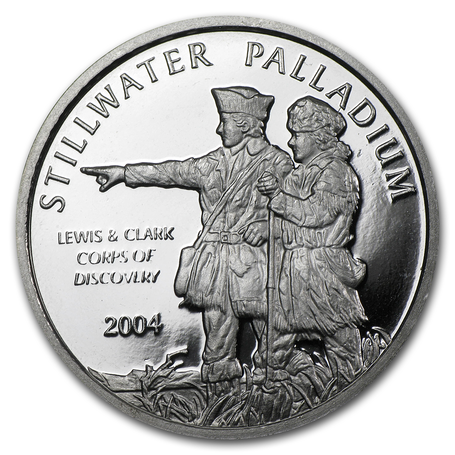 1/2 oz Johnson Matthey Palladium Lewis & Clark Round