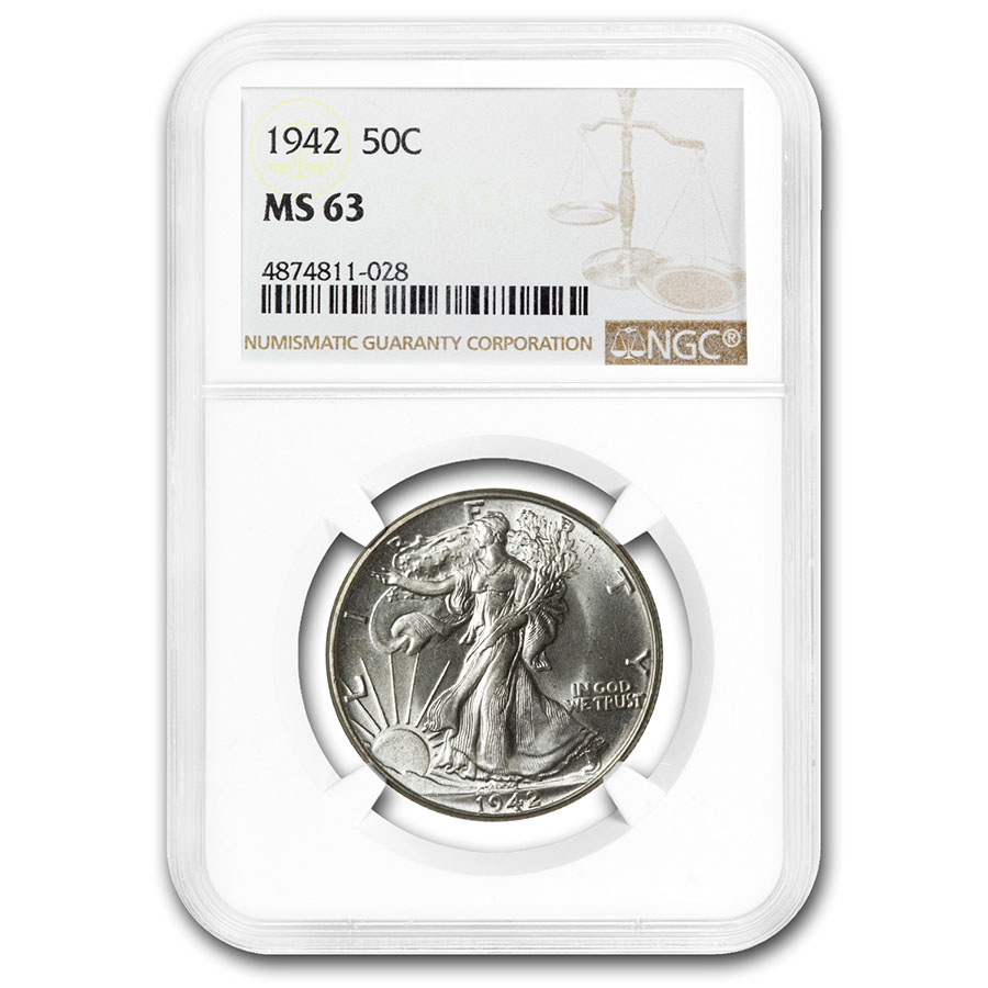 1942 Walking Liberty Half Dollar MS-63 NGC