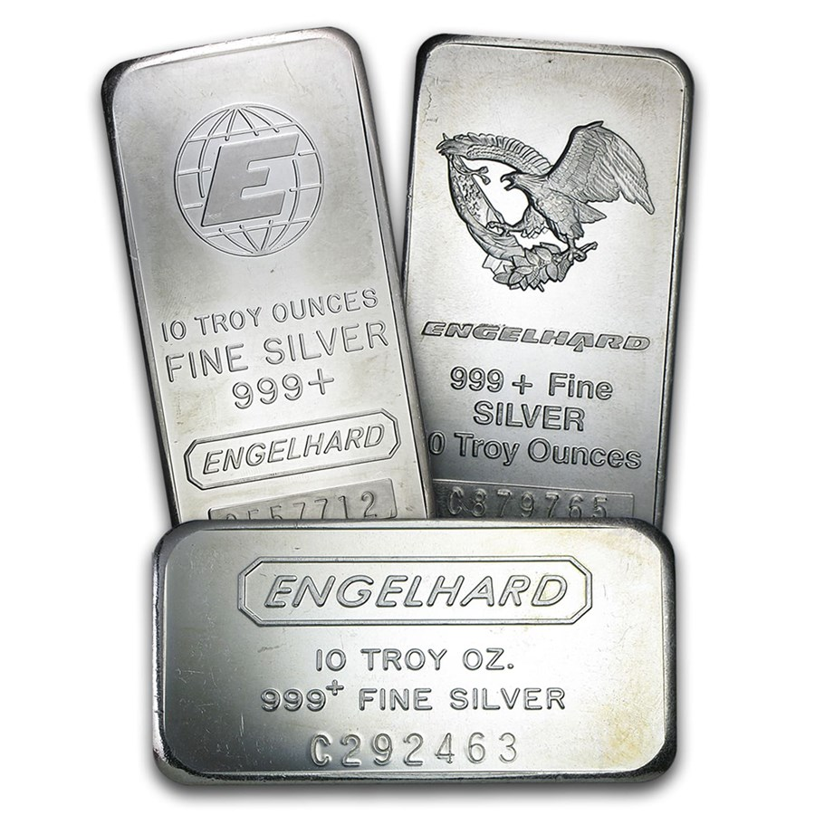10 Oz Silver Bars Engelhard For Sale With Serial Number