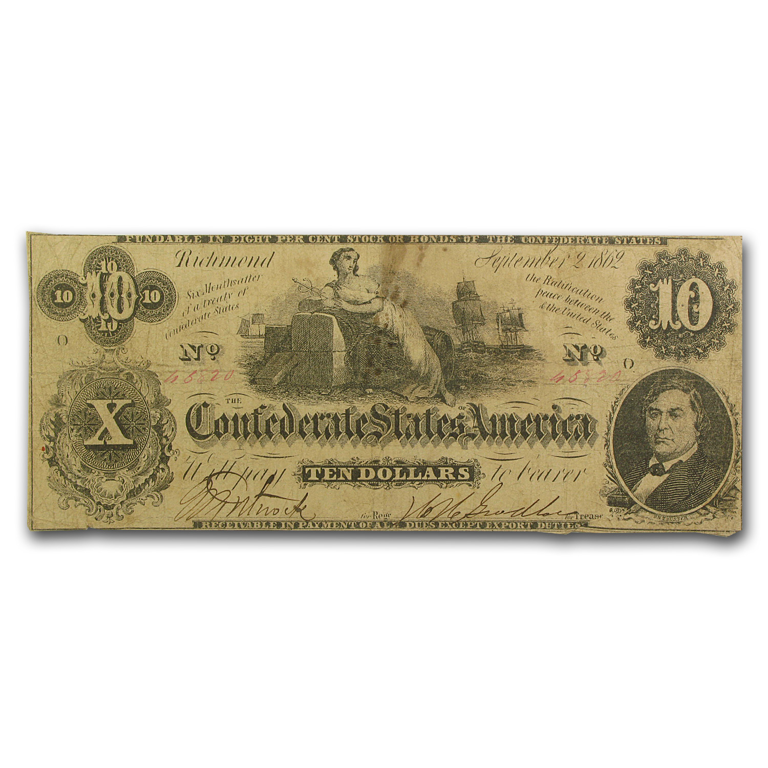 1862 $10 (T-46) Ceres on Cotton Bales Fine