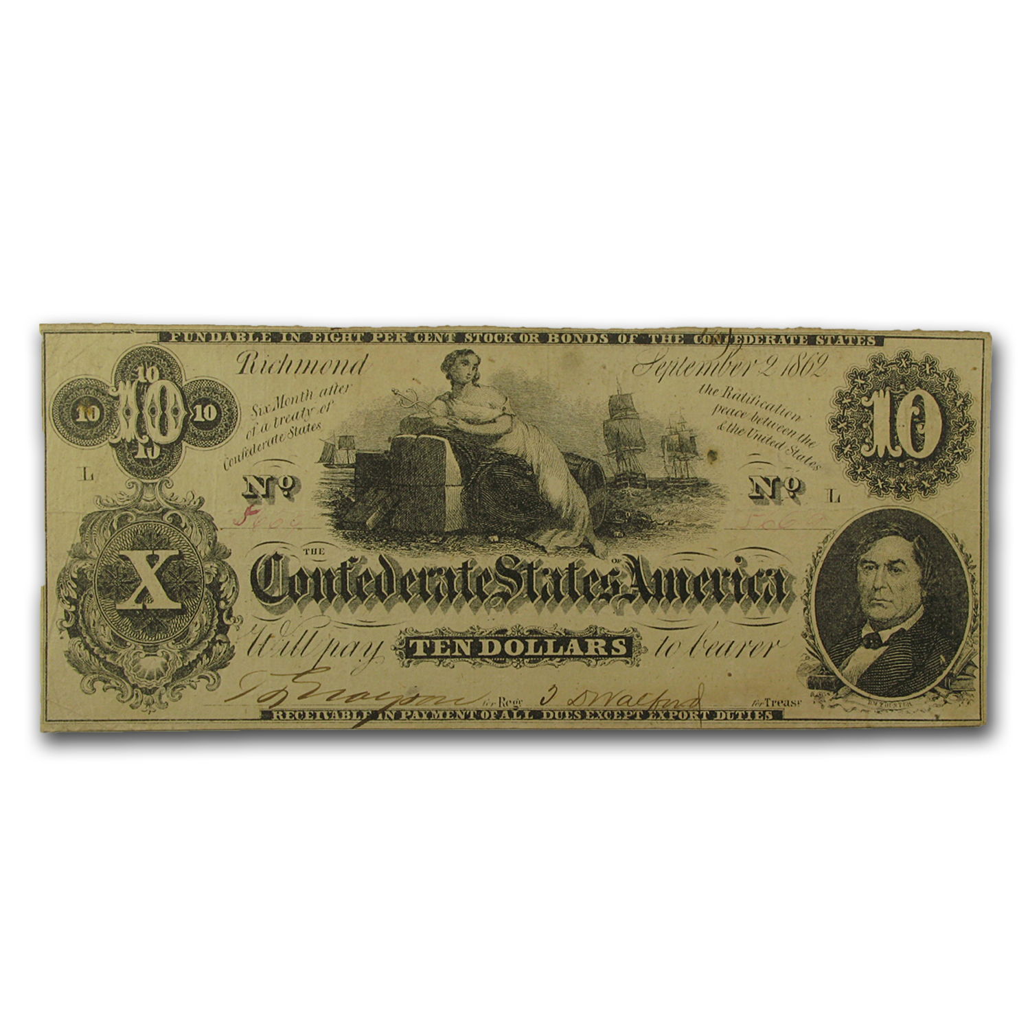 1862 $10 (T-46) Ceres on Cotton Bales VF