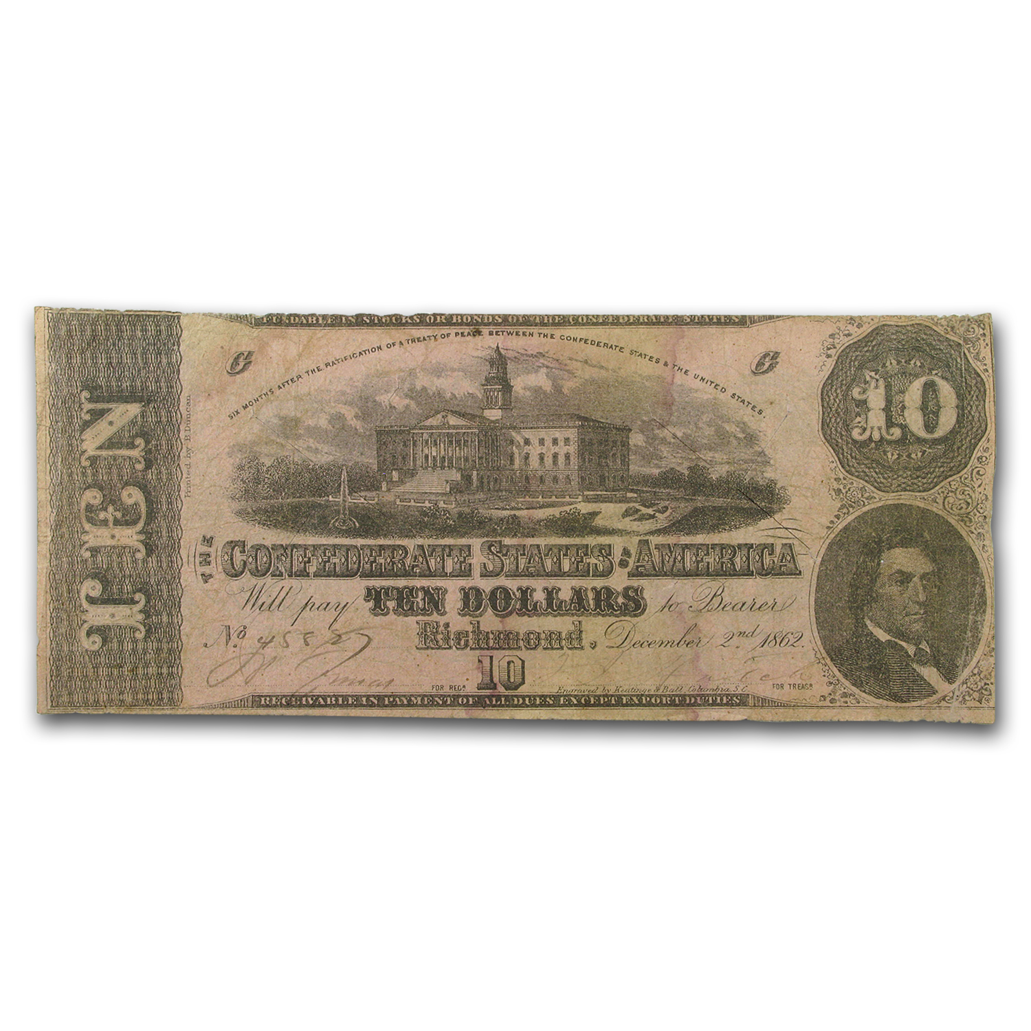 1862 $10 (T-52) State Capitol @ Columbia, SC VF
