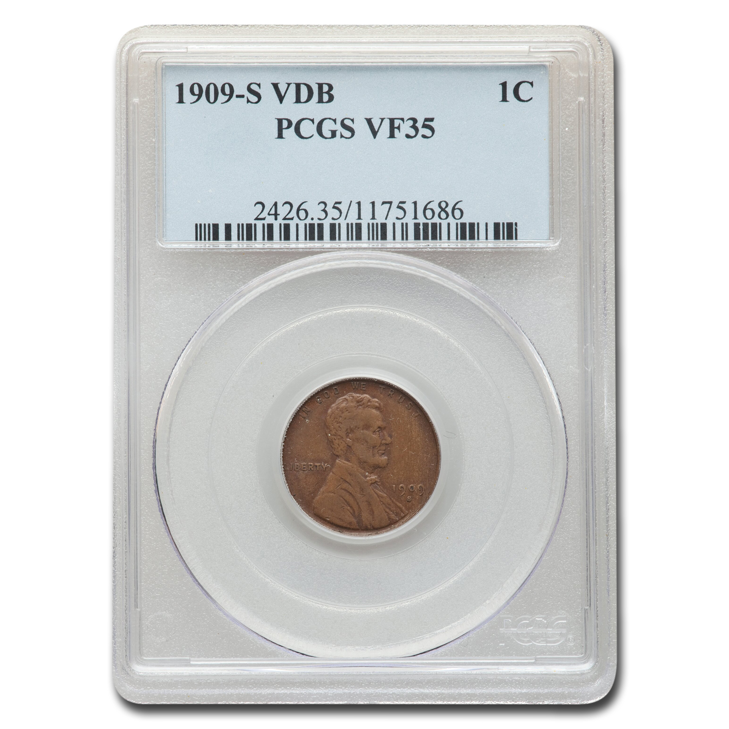 1909-S VDB Lincoln Cent VF-35 PCGS