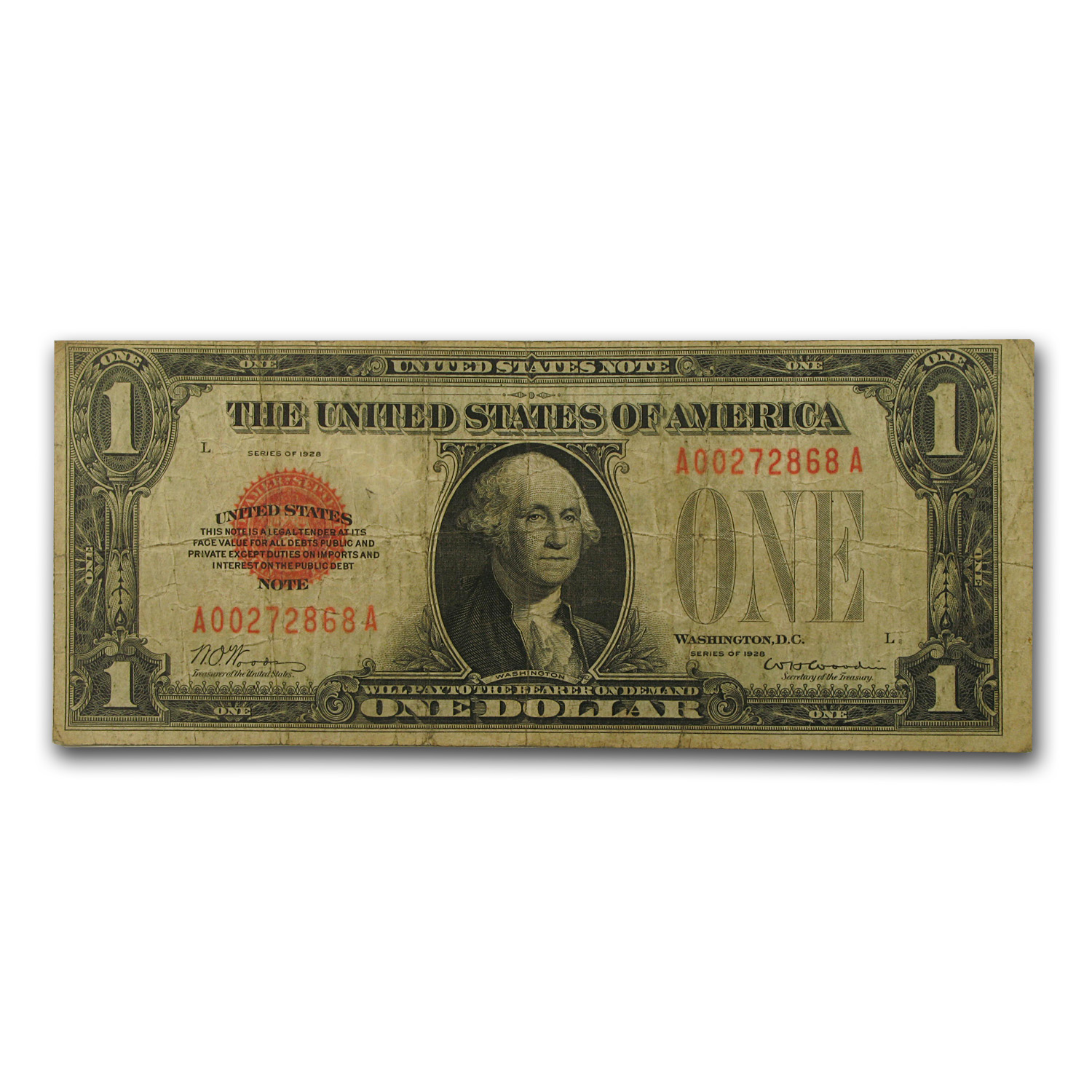 1928 $1.00 U.S. Note Legal Tender Fine