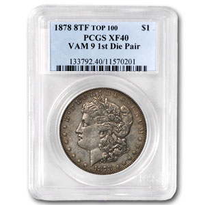 1878 Morgan Dollar 8 TF XF-40 PCGS (VAM-9, Top-100)