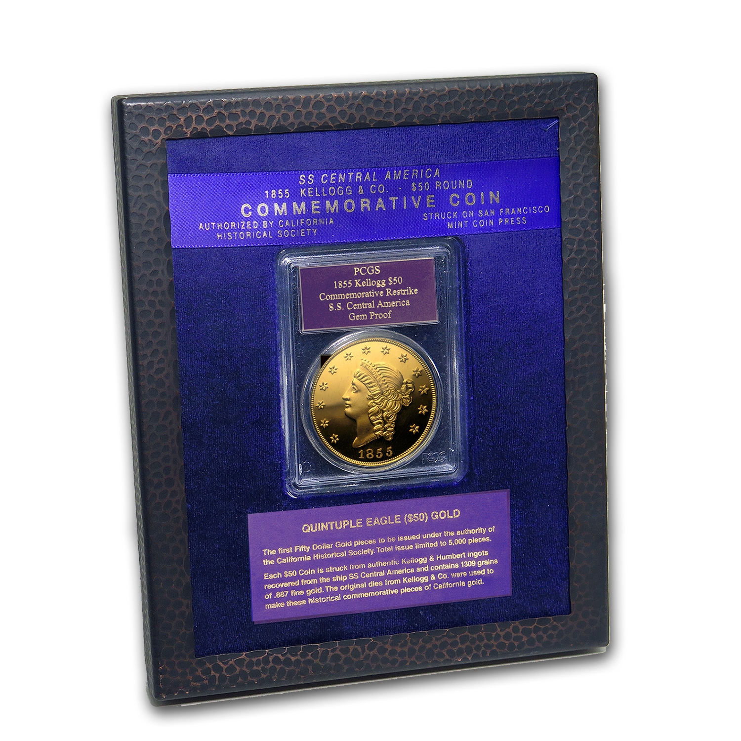 2.419 oz Gold - $50 Gold Kellogg Restrike Gem Proof PCGS (w/Box)