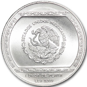 1993 Mexico 1 oz Silver 5 Pesos BasRelief El Tajin Proof