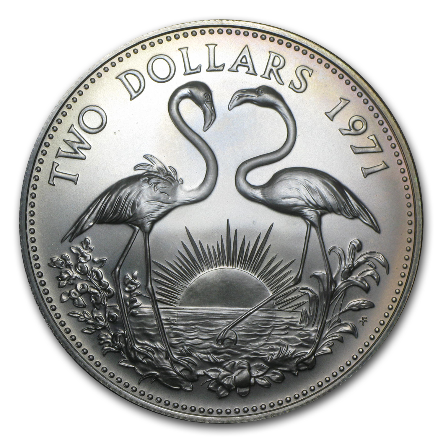 Bahamas 2 Dollar Silver Proof or Unc Flamingo (Random Date)