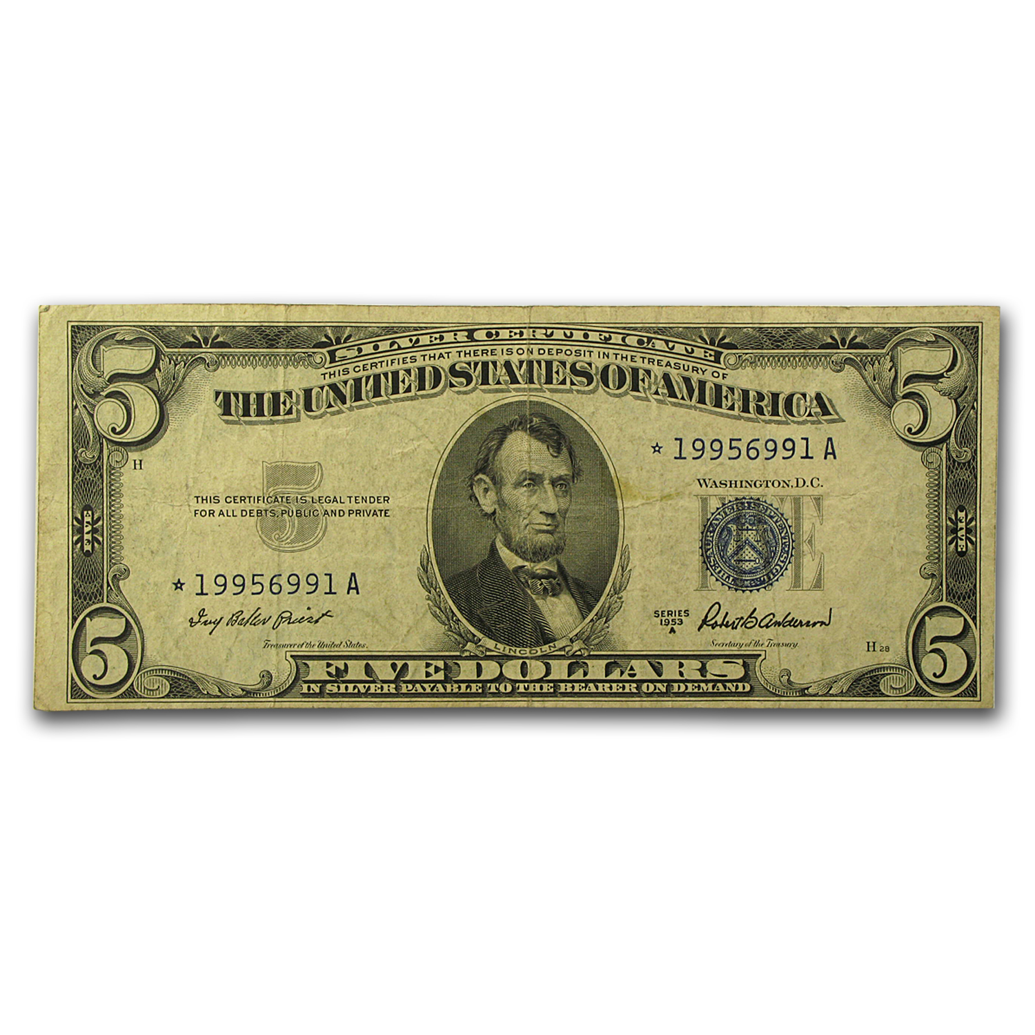1953-1953-B* $5.00 Silver Certificates VG-VF (Star Notes)