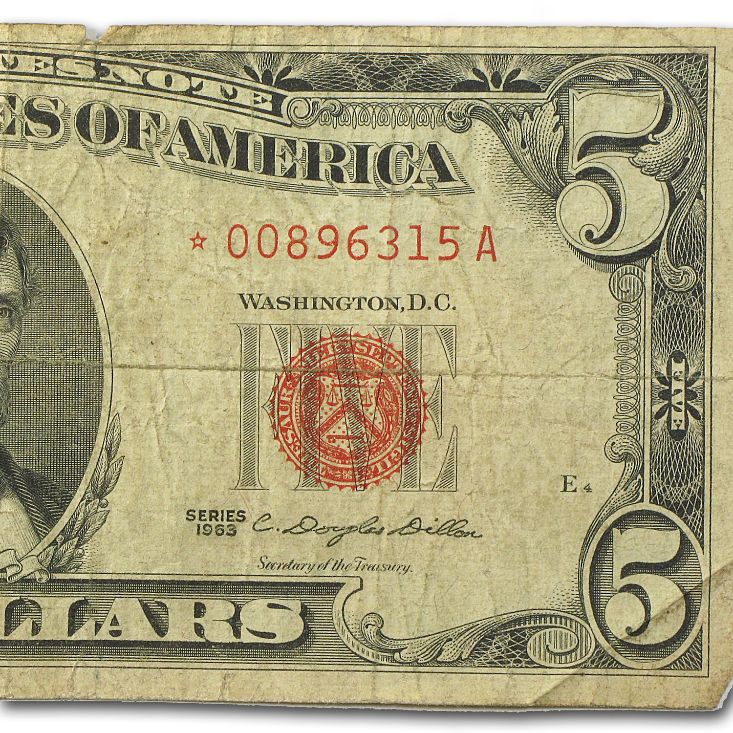1963* $5.00 U.S. Note Red Seal Good/VG (Star Note)