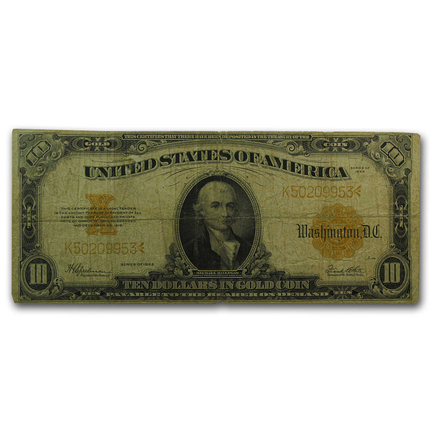 1922 $10 Gold Certificate - Hillegas - (Very Good)