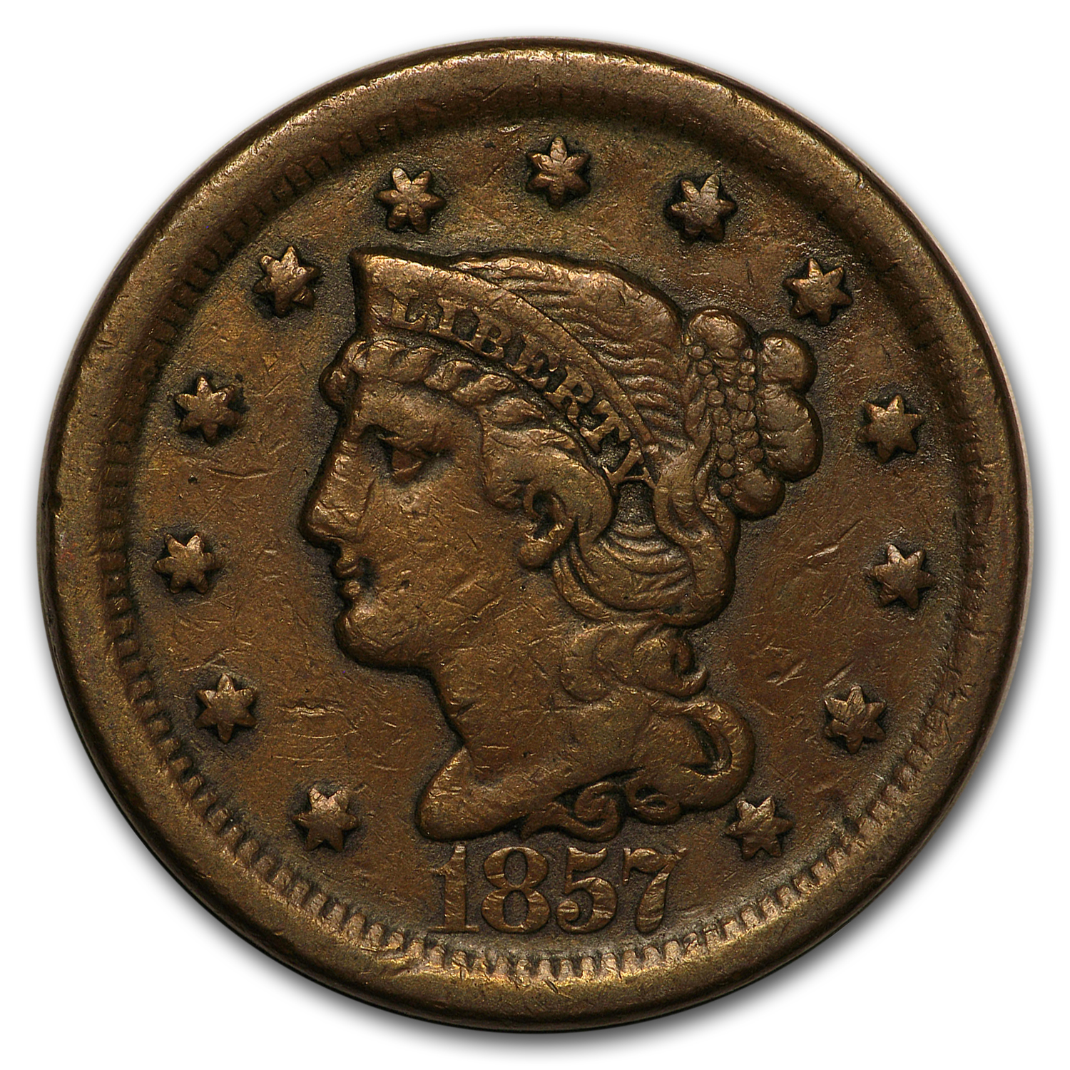 1857 Large Cent Lg Date VF