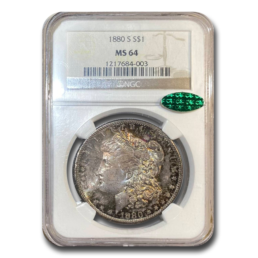 1880-S Morgan Dollar MS-64 NGC (CAC, Rainbow Obverse)