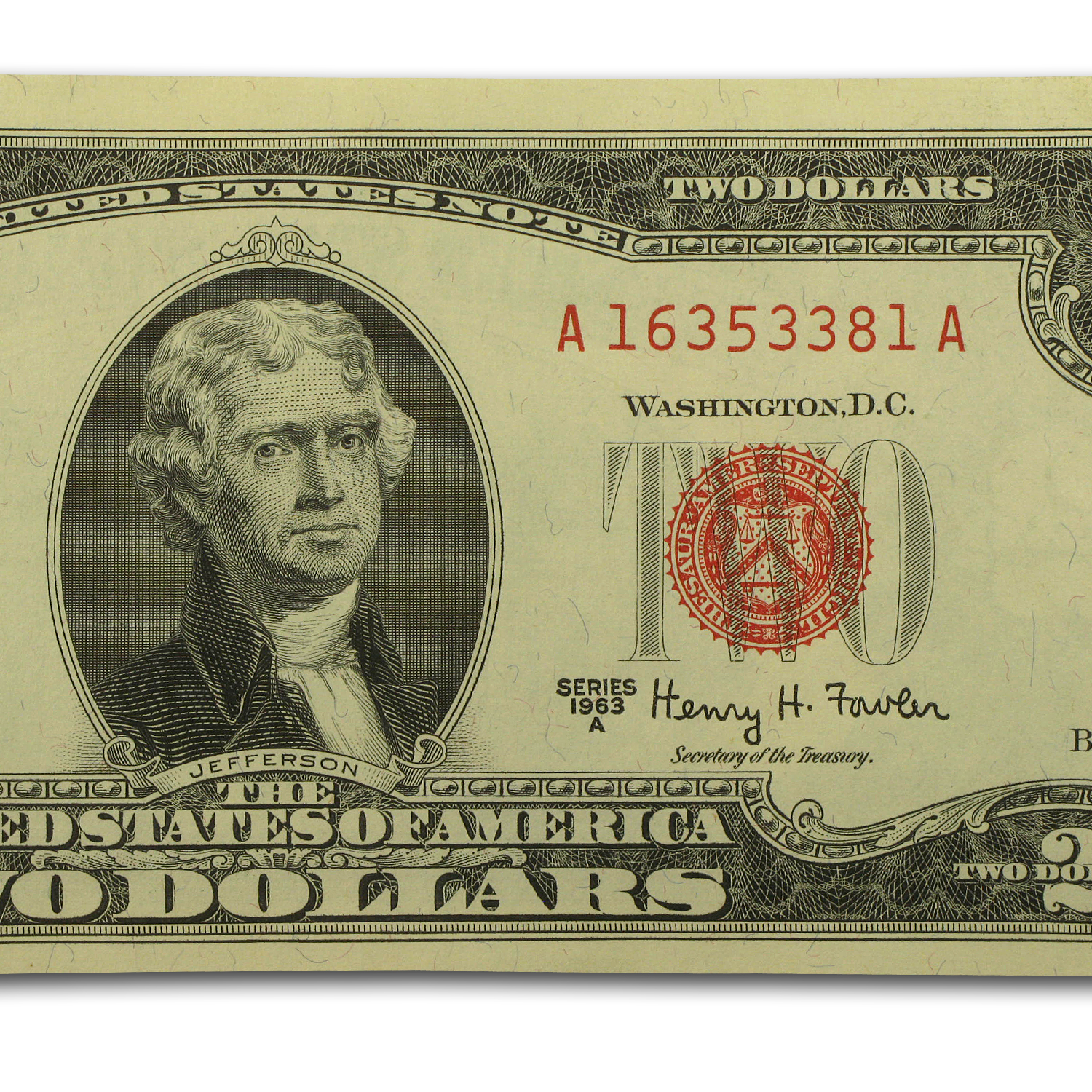 1963 thru 1963-A $2.00 U.S. Notes Red Seal CU