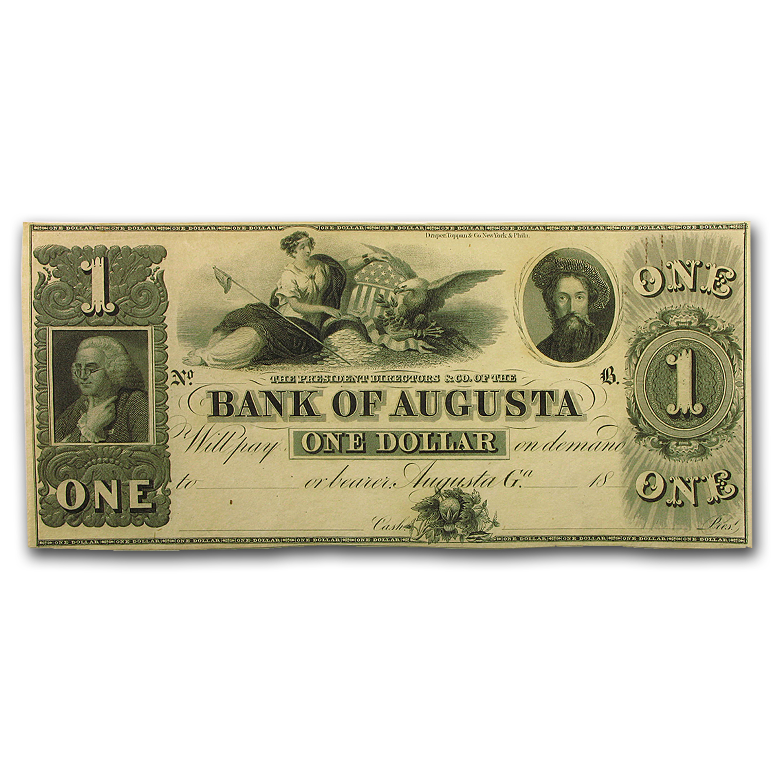 18__ Bank of Augusta, GA $1.00 Note GA-30 AU