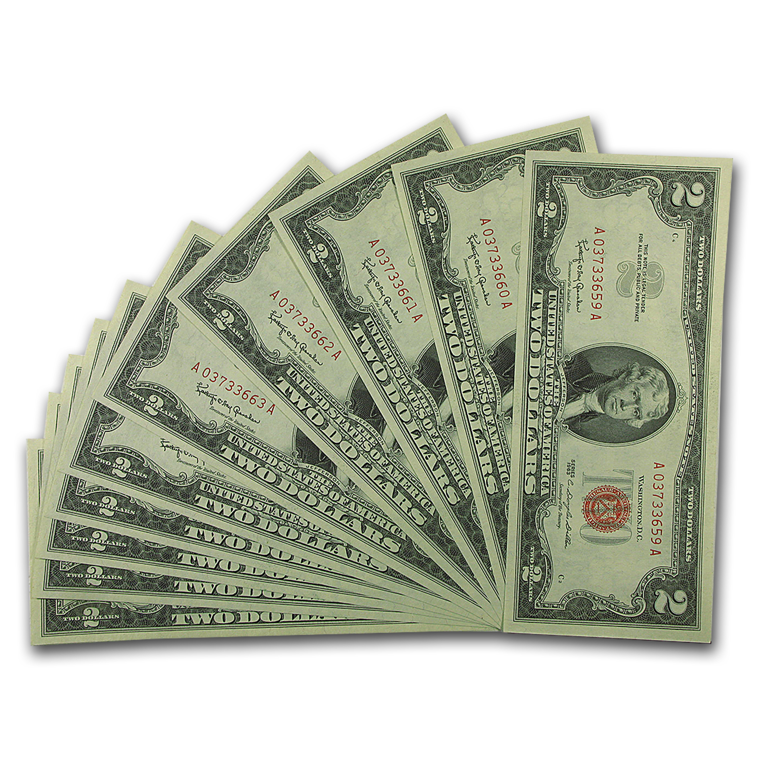 1963 $2.00 U.S. Notes Red Seal CU (10 Consec Serial Numbers)