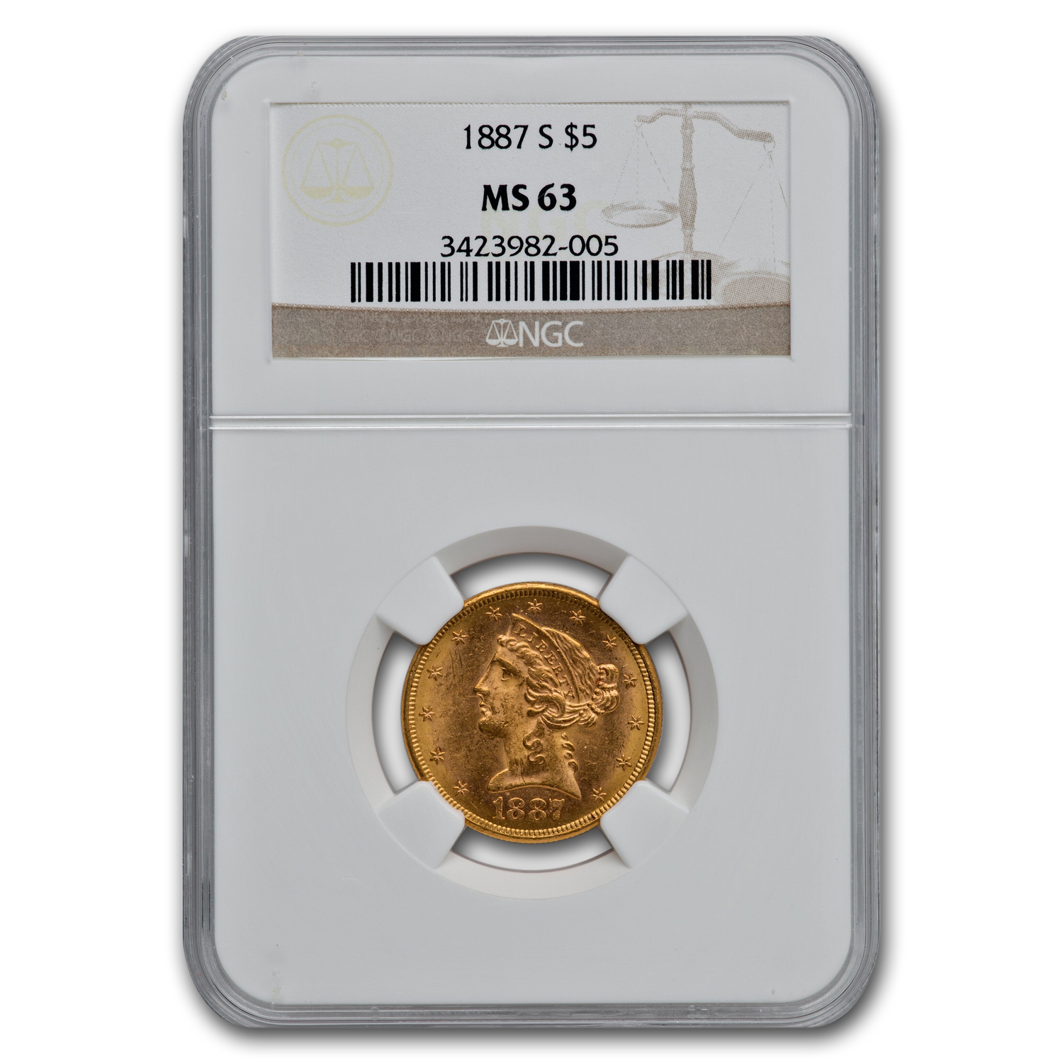 1887-S $5 Liberty Gold Half Eagle MS-63 NGC