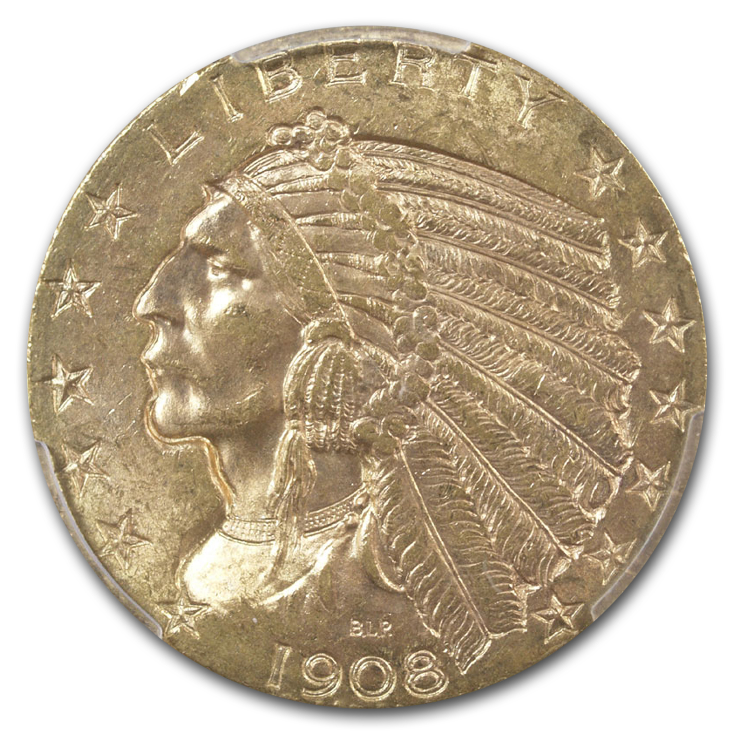 1908-D $5 Indian Gold Half Eagle - MS-63 PCGS