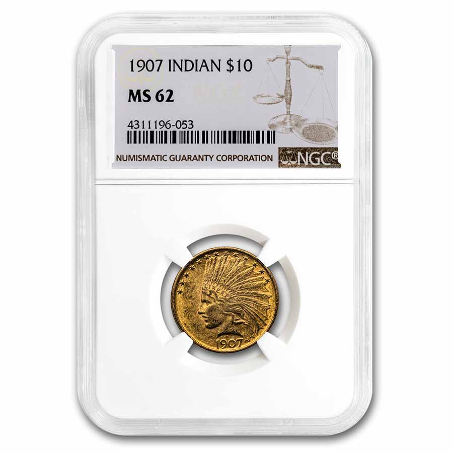 1907 $10 Indian Gold Eagle No Motto MS-62 NGC