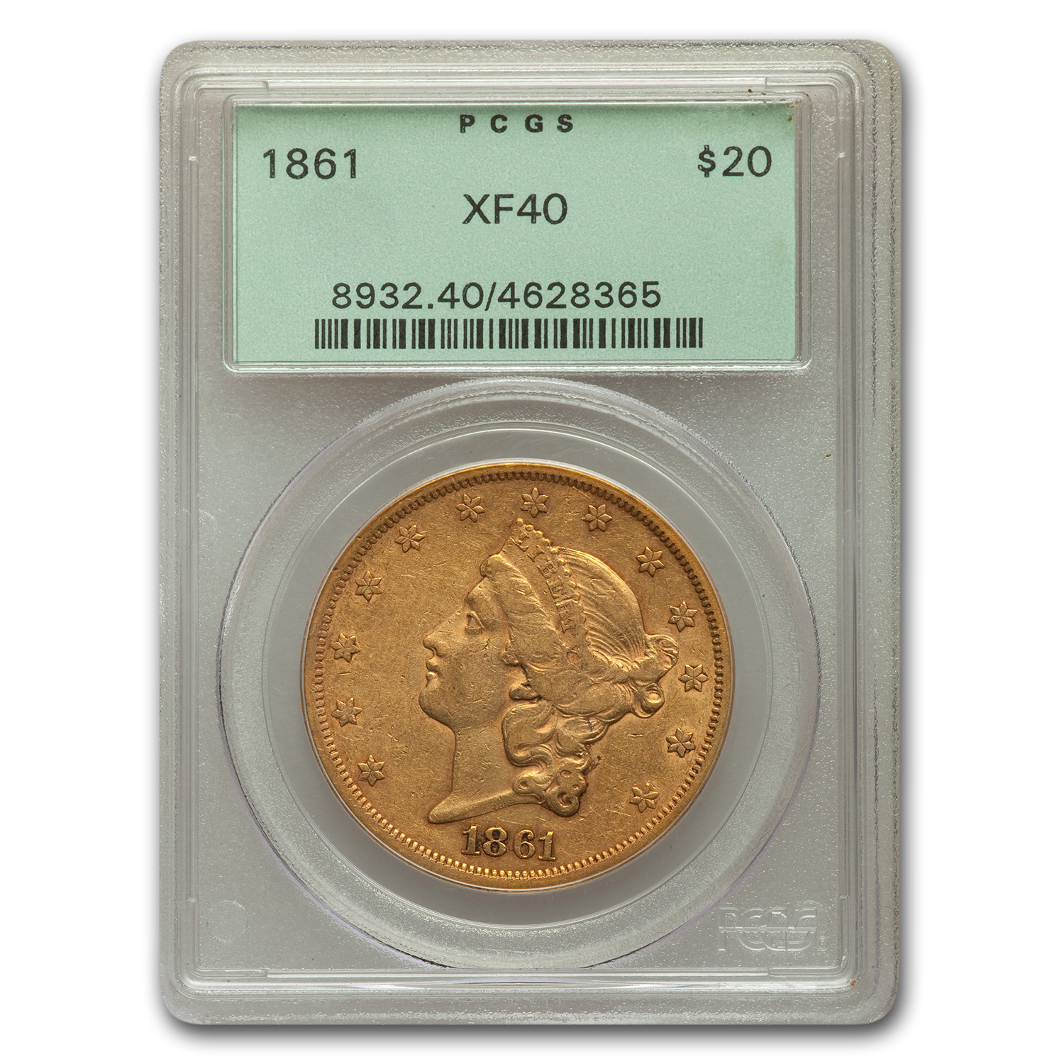 1861 $20 Liberty Gold Double Eagle XF-40 PCGS