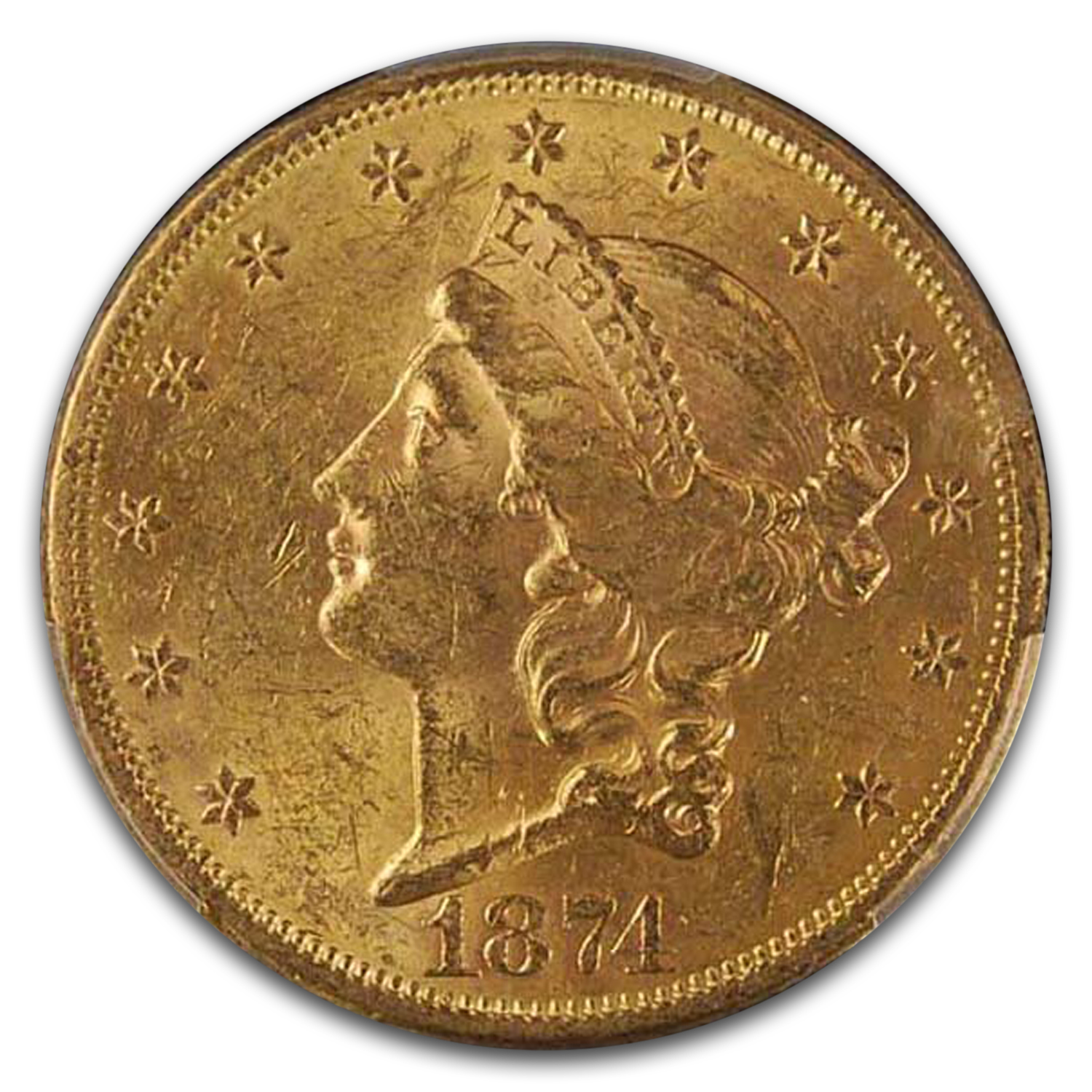 1874-S $20 Liberty Gold Double Eagle MS-61 PCGS