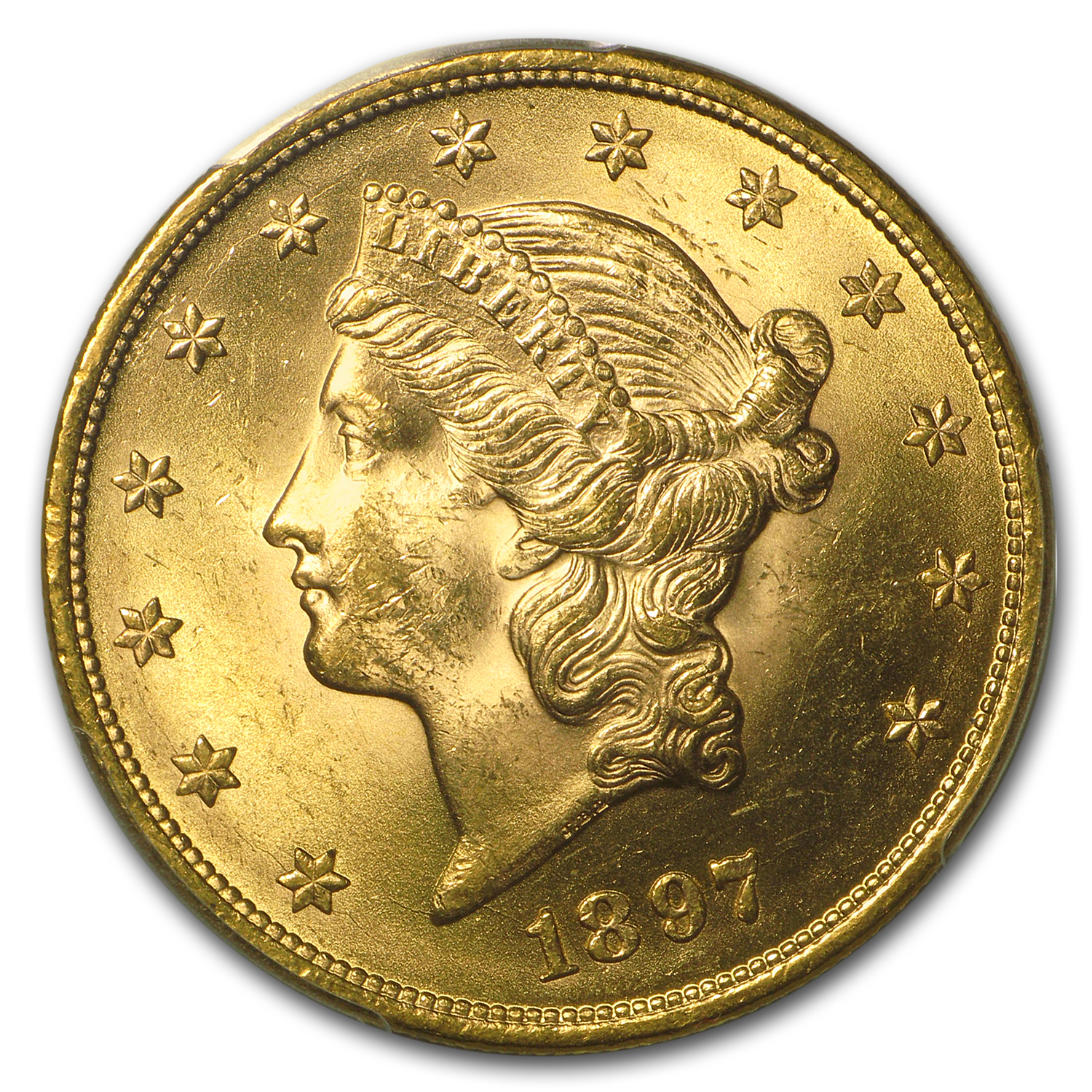 1897 $20 Gold Liberty Double Eagle - MS-63 PCGS