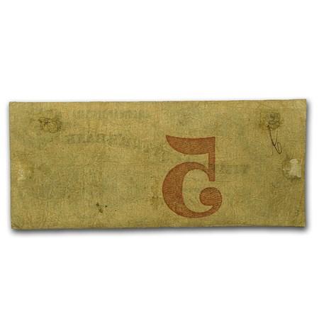 1858 Timber Cutter's Bank Savannah, GA $5 Note GA-335 -VG ...