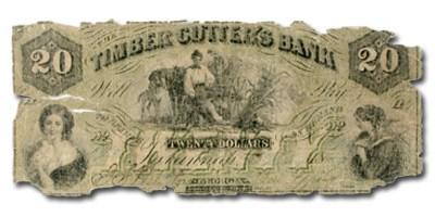 1857 Timber Cutter's Bank Savannah GA $20 Note GA-335 -VG ...