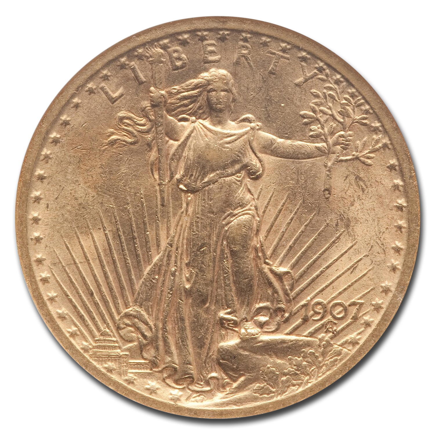 1907 $20 St. Gaudens Gold Double Eagle - AU-58 NGC