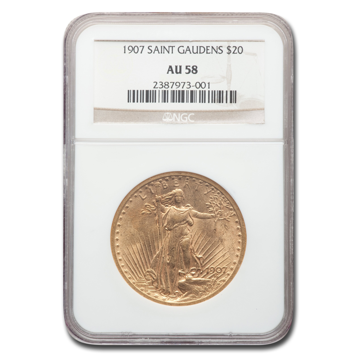 1907 $20 St. Gaudens Gold Double Eagle AU-58 NGC